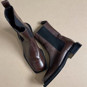 ZARA LEATHER SQUARE-TOE ANKLE BROWN BOOTS